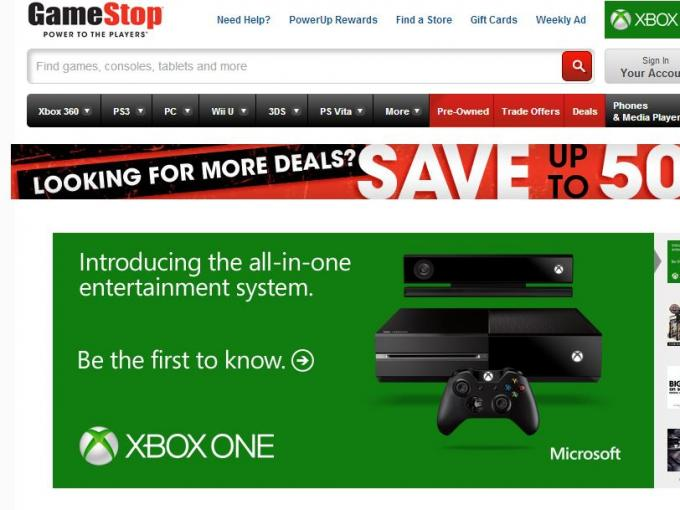 Auf seiner Webseite wirbt US-Spielehändler Gamestop bereits für die Xbox One.