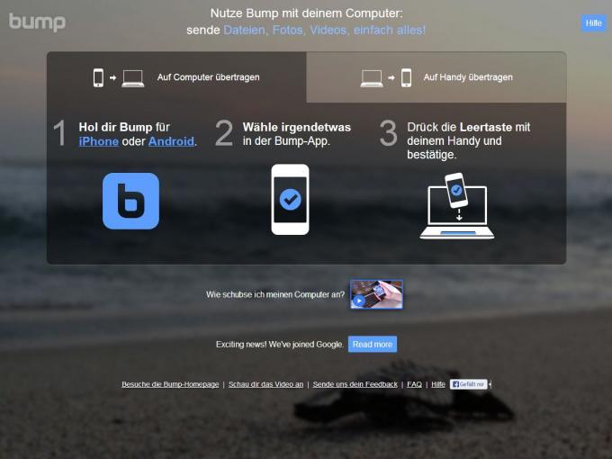 Die Homepage von Bump lädt zum Anstoßen mit dem Smartphone ein.
