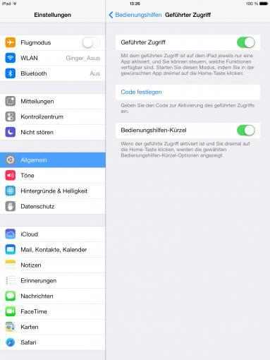 Der Geführte Zugriff wird mit einem Code gesperrt, der die Benutzung auf eine ausgewählte App beschränkt.