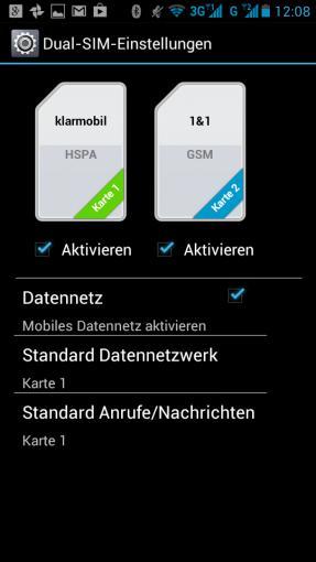 Beide SIM-Karten lassen sich getrennt voneinander konfigurieren, UMTS/HSDPA kann man allerdings nur mit der Karte in Slot 1 nutzen.