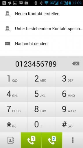 Die Telefon-App bietet zwei Buttons zum Wählen – für jede SIM-Karte einen. Die SMS-App bietet diese Funktion ebenfalls.