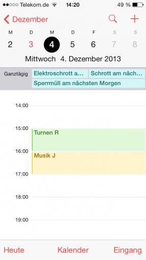 Je kürzer der gezeigte Zeitraum, desto detaillierter stellt Kalender die anstehenden Termine dar.