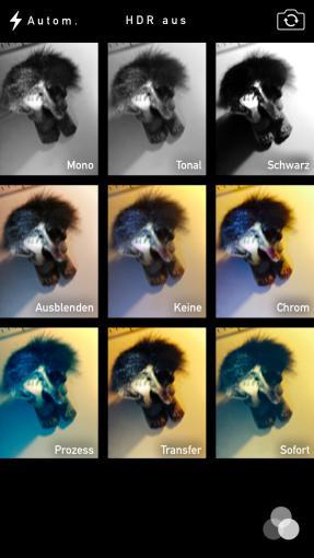 Die Kamera-App beherrscht nicht nur einfache Fotos und Videos, sondern ihr könnt auch schon während der Aufnahme Effekte hinzufügen.