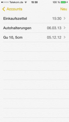 Notizen synchronisiert die gesammelten Werke automatisch mit der iCloud, wenn ihr das gestattet.