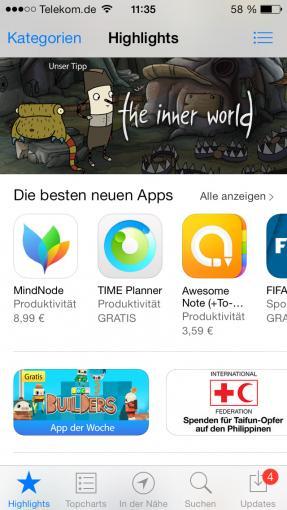 """Der Punkt """"In der Nähe"""" im App Store zeigt die beliebtesten Apps, die in eurer Umgebung heruntergeladen wurden."""