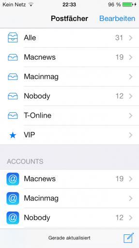 Eure E-Mail-Accounts übernimmt das iPhone aus der iCloud, oder ihr tragt sie in Einstellungen manuell ein.