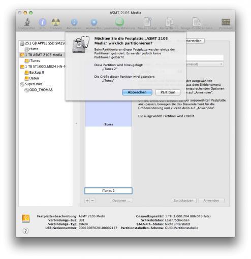 Seit Mac OS X 10.5 Leopard können einer Festplatte auch nachträglich weitere Partitionen hinzugefügt werden.