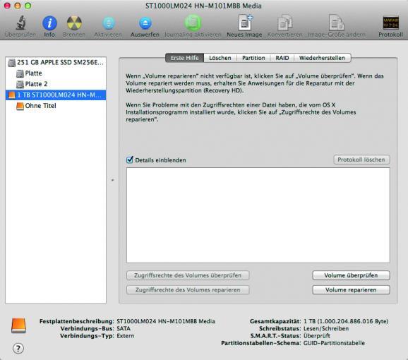 Festplatte wählen: Startet das Festplattendienstprogramm und wählt in der Seitenleiste die angeschlossene externe Festplatte aus, die gelöscht werden soll.