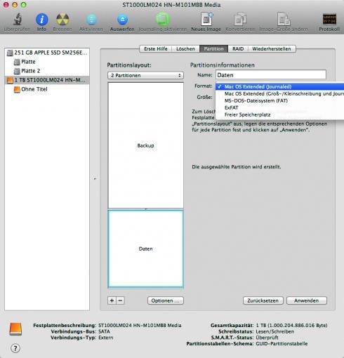 """Format festlegen: Legt für beide Partitionen das Dateiformat fest. Soll die Festplatte mit einem Mac verwendet werden, sollte """"Mac OS X Extended (Journaled)"""" gewählt werden."""