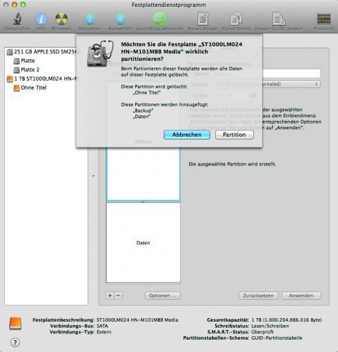 """Partitionierung ausführen: Klickt auf """"Anwenden."""" Im Folgenden werden sämtliche Daten auf der Festplatte gelöscht. Das Festplattendienstprogramm gibt deshalb noch einmal eine Warnmeldung aus."""