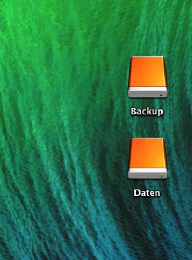 Neue Partitionen II: Die beiden neuen Partitionen erscheinen als Laufwerke auf Ihrem Schreibtisch. Ihr könnt eine Partition zum Beispiel für ein Backup, die zweite für andere Daten verwenden.