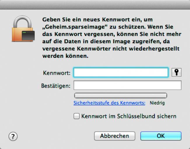 """Kennwort festlegen: Klickt auf """"Erstellen und gebt ein Passwort ein. Deaktiviert """"Kennwort im Schlüsselbund sichern"""", damit sich das Image nicht automatisch öffnen lässt. Ihr dürft das Passwort dann aber keinesfalls vergessen!"""