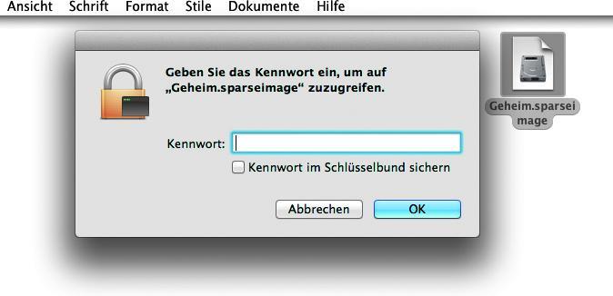 Image öffnen: Ein Image mit der Endung .sparsebundle wird erstellt. Klickt ihr dieses doppelt an. Dann müsst ihr das Passwort eingeben. Es öffnet sich ein virtuelles Laufwerk, auf das ihr Daten kopieren könnt.