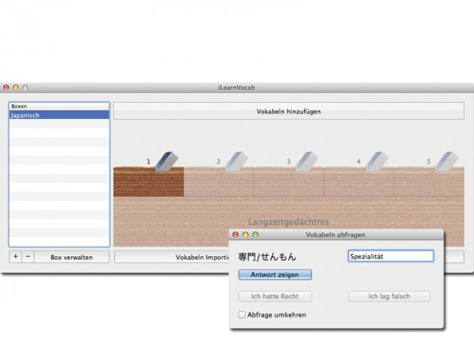 iLearnVocab  Preis: 2,69 Euro Sprache: Deutsch Bezug: Mac App Store System: OS X 10.6  Note: 4,4