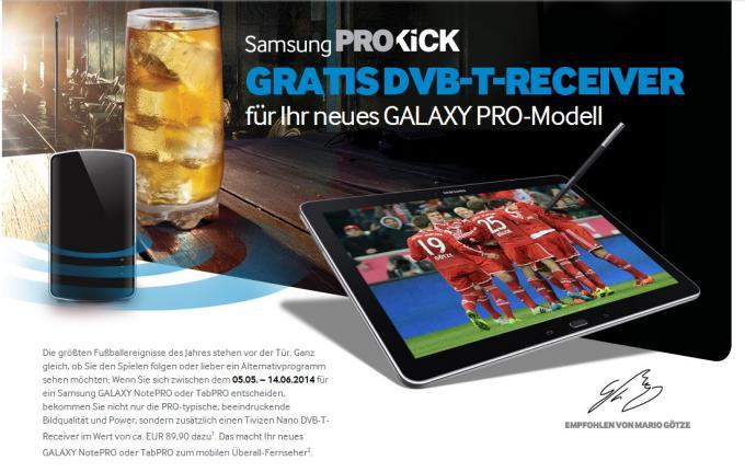 Galaxy TabPRO und NotePRO: Gratis DVB-T-Receiver bei Kauf von Samsung-Tablet