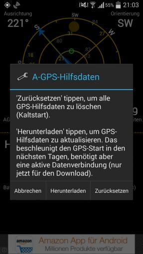 Mit der Testversion der App GPS Status & Toolbox kann man den GPS-Empfang verbessern.