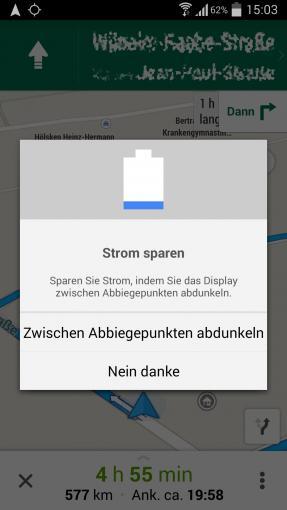 Die aktuelle Version von Google Maps bietet automatisch diese Option, mit der sich der Akku schonen lässt.