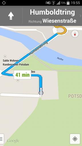 Im Hochformat zeigt Google Maps deutlich mehr von der Strecke...