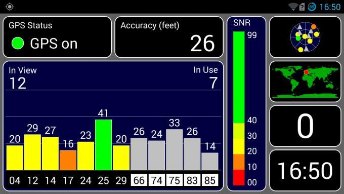 Das HTC One X+ unterstützt ausschließlich GPS. Die App GPS Tester zeigt, dass das Smartphone 12 Satelliten gefunden hat und mit sieben verbunden ist. Die Genauigkeit liegt bei 26 Fuß (7,9 Meter)