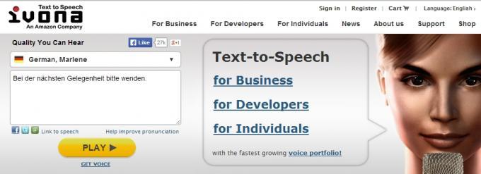 Auf www.ivona.com könnt ihr das Sprachpaket ausprobieren.