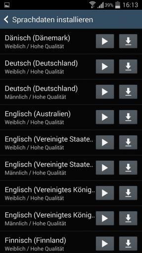 Android bietet standardmäßig mehrere Sprachpakete an, die für Google Maps verwendet werden können.