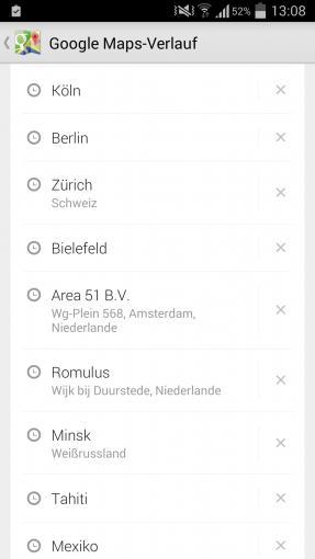 Google speichert alle Ziele, die man mit Google Maps sucht, sofern man mit seinem Google-Account eingeloggt ist – das ist bei Android-Smartphones standardmäßig der Fall.