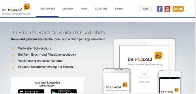 Bei be relaxed können Sie die Smartphone- und Tabletversicherung direkt innerhalb der App abschließen und sogar monatlich kündigen