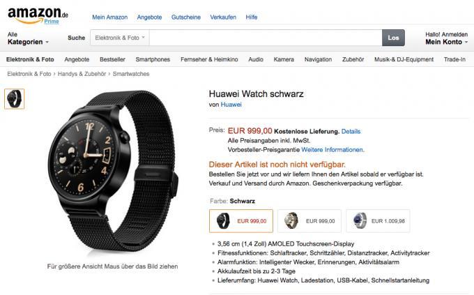 Die 1.000-Euro Huawei Watch kann ab sofort auf Amazon.de vorbestellt werden