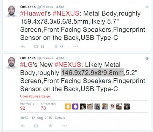 OnLeaks verrät Details zu neuen Google Nexus-Smartphones