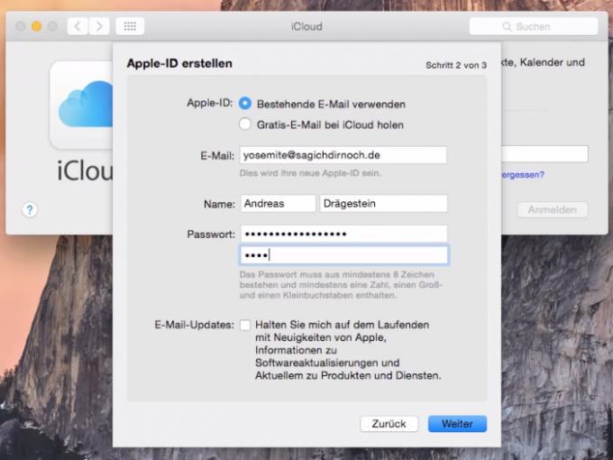 Für eine Apple ID benötigen Sie eine E-Mail-Adresse