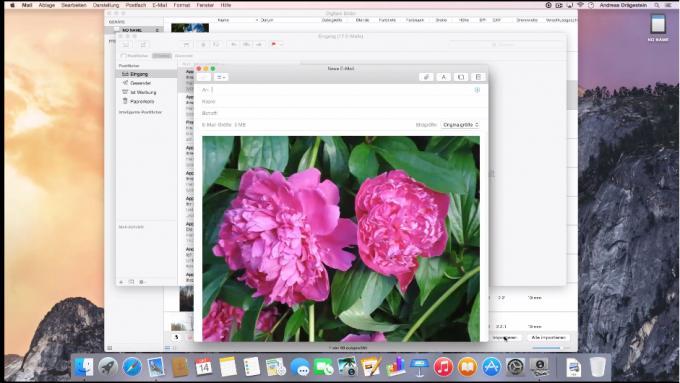 Sie können Fotos direkt von Ihrer Kamera via E-Mail versenden