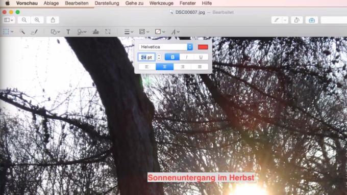 Die App Digitale Bilder besitzt auch einen Werkzeugkasten zur Fotobearbeitung