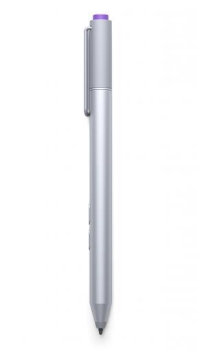 Der mitgelieferte Surface Pen verfügt über drei Bedienelemente: Die beiden seitlich angebrachten Tasten besitzen eine Radiergummi- bzw. Rechtsklick-Funktion. Mit der lilafarbenen Taste am Stift-ende öffnet sich über eine Bluetooth-Verbindung automatisch das Microsoft-Programm Onenote.