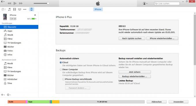 Mit der iTunes-Software sichern Sie die Inhalte vom iPhone auf die lokale Festplatte oder in die Apple iCloud. In dem Geräte-Backup enthalten sind etwa Kontakte, SMS, Fotos sowie Musik- und Videodateien.