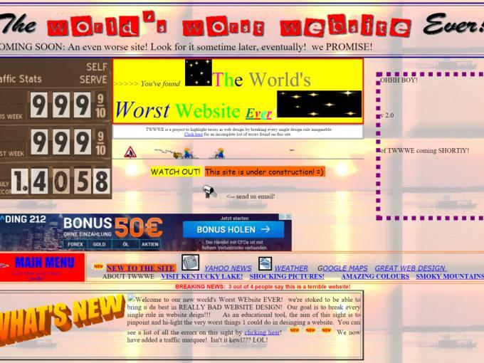 Eigentlich haben wir mit der Worlds Worst Website Ever bereits die schlechteste Website der Welt gefunden. Da diese Webseite den Titel aber mit Absicht anstrebt, zählt sie nicht zur Liste
