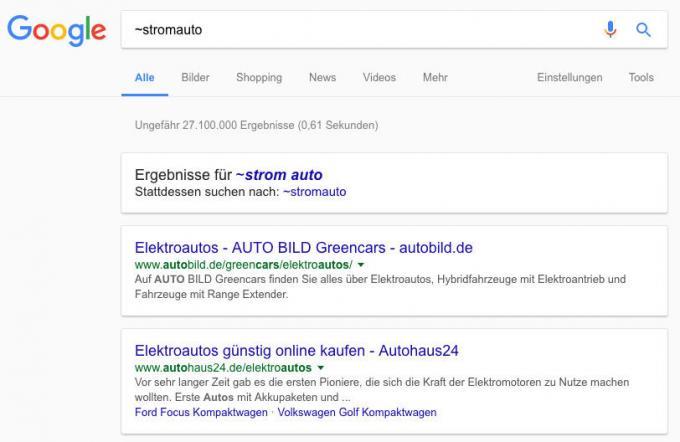 Google-Suche nach Synonymen