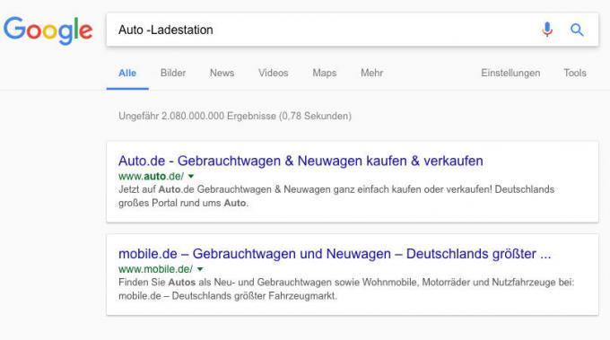 Suchworte bei Google ausschließen
