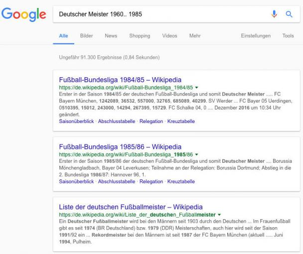 Zeitraum bei Google-Suche festlegen