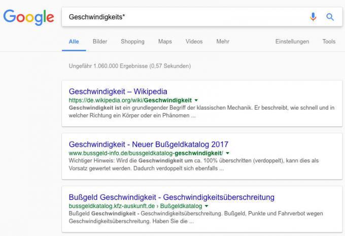 Platzhalter bei Google verwenden