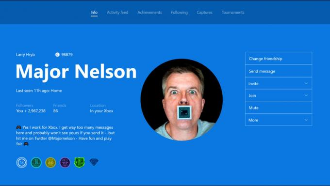 "Screenshot zeigt Profilseite von Xbox-Community-Manager Larry Hryb alias ""Major Nelson"""