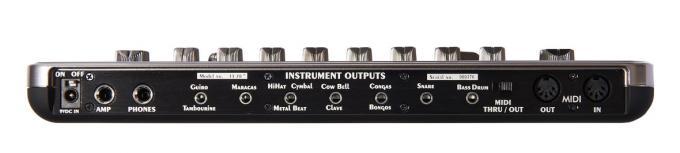 Sieben Einzelausgänge erlauben eine externe Nachbearbeitung einzelner Sounds, allerdings müssen sich einige Instrumente einen Ausgang teilen.