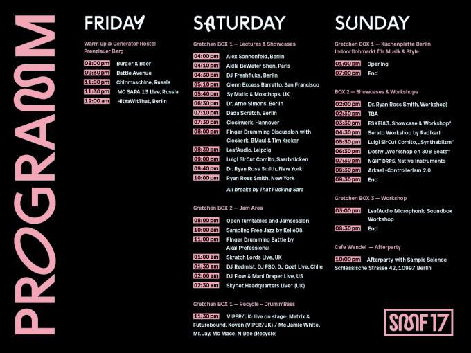 Timetable SampleMusicFestival 2017