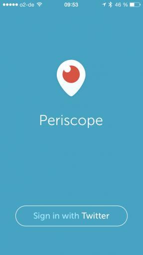 Periscope verlangt eine Registrierung über Twitter