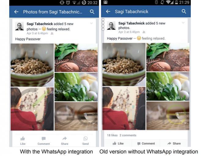 """Mehrere Tech-Blogs berichten, dass Facebook den Nachrichtendienst WhatsApp in seiner App integriert (mit dem """"Send-""""-Button links unten im Bild)."""