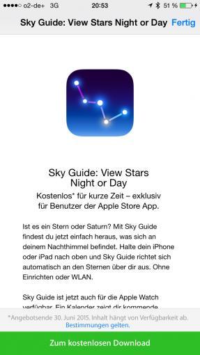 Sky Guide können Sie bis 30. Juni kostenlos herunterladen
