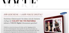 Für Fashion-Fans: Galaxy Tab 3 10.1 Red Edition kaufen und Vogue ein Jahr lang gratis lesen